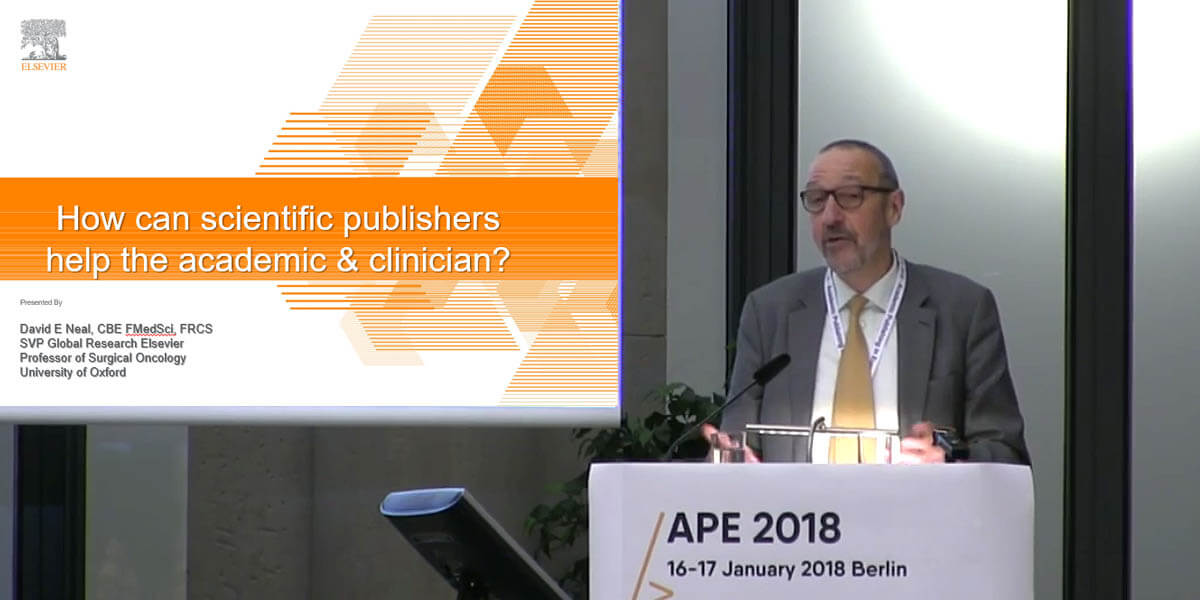 David Neal, CBE, FMedSci, FRCS, Senior VP of Global Academic Research at Elsevier and Professor of Surgical Oncology at the University of Oxford, presents at the Academic Publishing in Europe conference in Berlin.