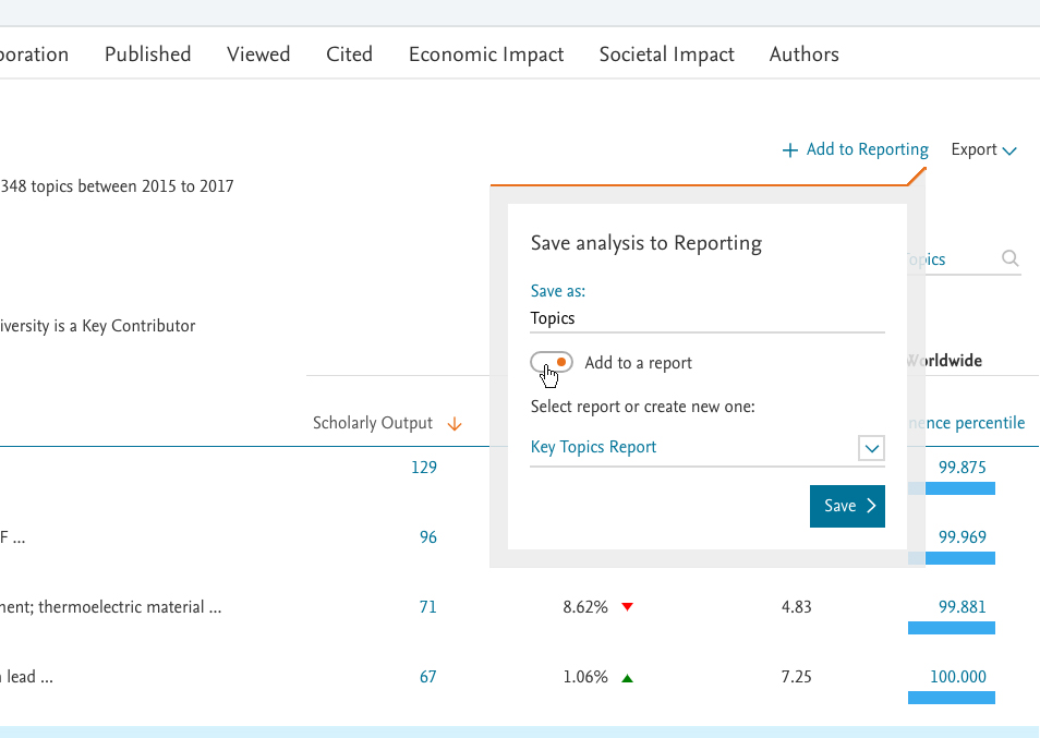You can now add an analysis directly to an existing Report, or create a new Report within the module you're using.