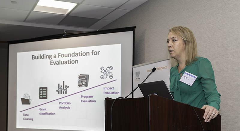 Kari Wojtanik, PhD, of Susan G. Komen speaks on the Evaluating Research panel.
