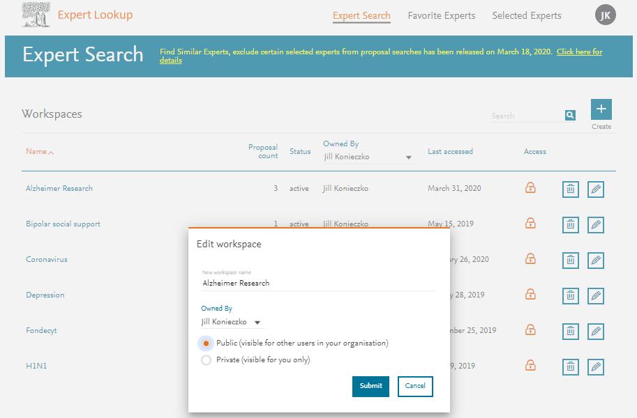 Workspaces - Expert Lookup   Elsevier