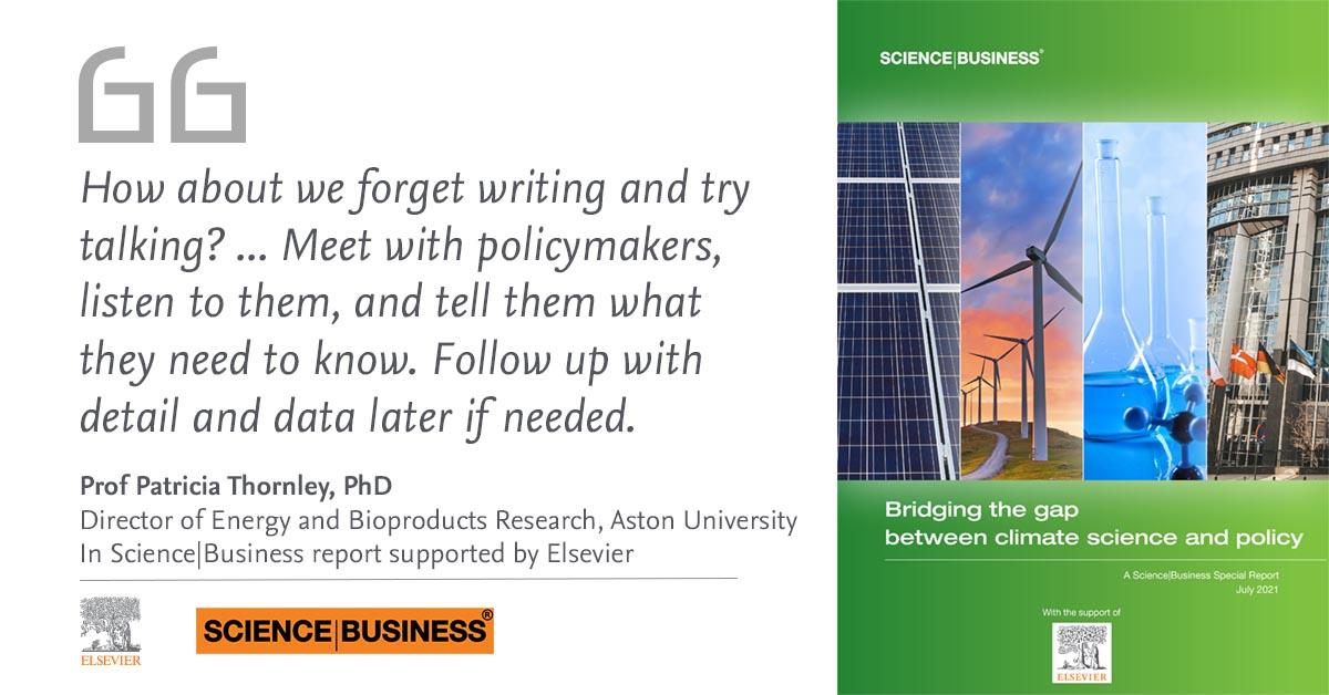 Science Business Elsevier report quote card