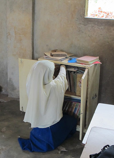 A pupil at Kilindi Nungwi Primary School in Unguja uses the School Library in a Box.