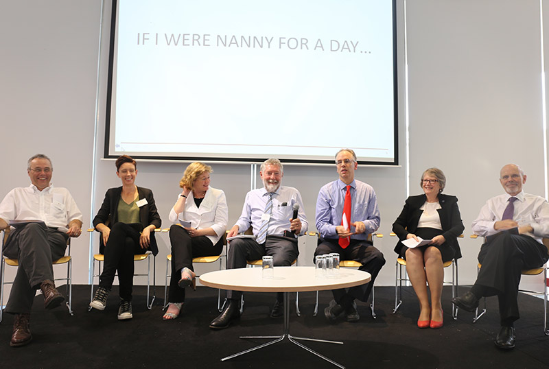 Panelists at a conference at the University of Sydney titled <em>Who's afraid of the nanny state? Freedom, regulation and the nation's health</em>. The conference inspired the special issue presented below. (Photos courtesy of the Charles Perkins Centre, University of Sydney)