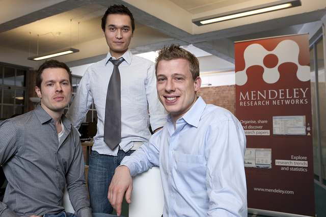 Mendeley's cofounders:� Paul Foeckler, PhD, Victor Henning, PhD and Jan Reichelt, PhD
