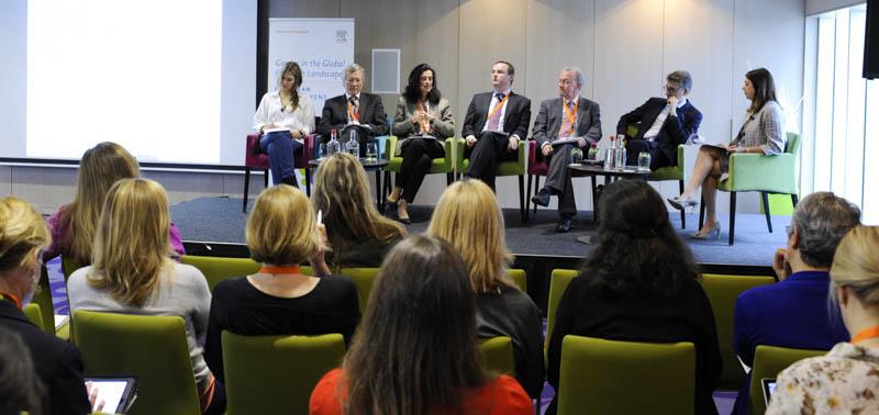 Panelists left to right: Eva Kaili, Rolf Tarrach, Shéhérazade Semsar-de Boisséson, Stephan Kuster, Johan Ten-Geuzendam, Vladimir Šucha and moderator Elizabeth Crossick.