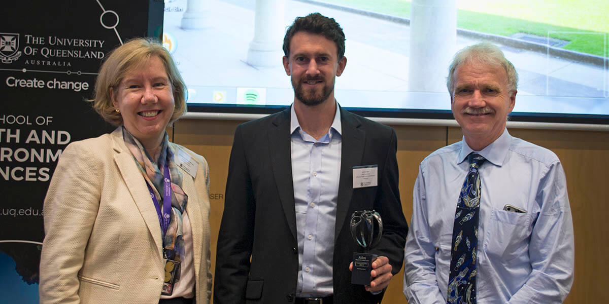 At the Atlas Award ceremony May 25 at the University of Queensland, Australia: Prof. Melissa Brown (Executive Dean, Faculty of Science), James Allan (PhD candidate, School of Earth and Environmental Sciences) and Prof. Aidan Byrne (Provost). (Photo courtesy of the University of Queensland)