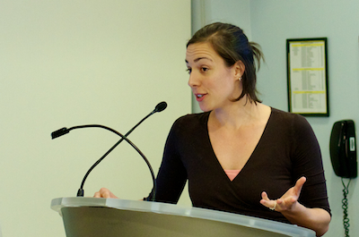 Science writer Melinda Wenner Moyer, an adjunct professor in the CUNY Graduate School of Journalism, moderated the event.