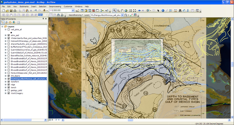 These overlaid maps from Geofacets show a view of the Gulf of Mexico with data in the contents pane. For more on Geofacets, visit the info site.