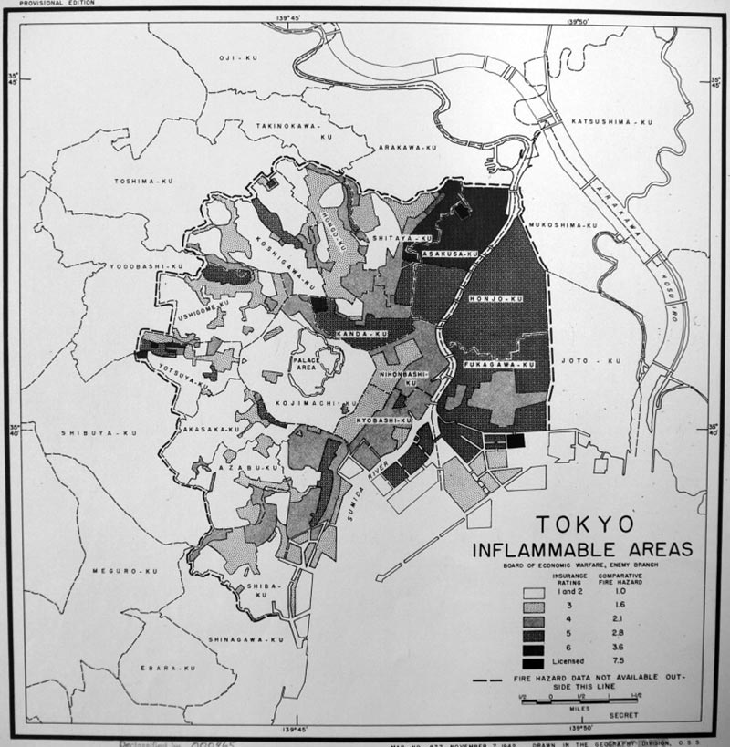 OSS Map no. 877, Tokyo – Inflammable Areas, November 1942. (Source: US National Archives, Cartographic and Architectural Section, Record Group 226: 330/20/8)