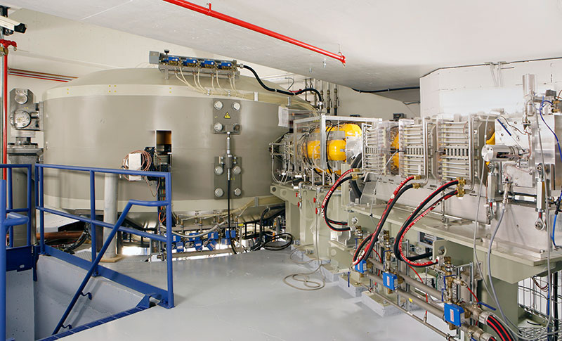 The 220-ton cyclotron is 18 feet in diameter and 8 feet high. (Photo courtesy of ProCure Proton Therapy Center)