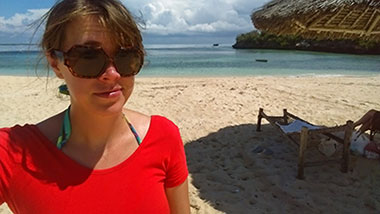 Mary Ann Zimmerman on Bongoyo Island, near Dar es Salaam (Photos by Mary Ann Zimmerman)