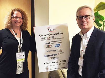Holly J. Falk-Krzesinski, PhD, and David Ruth at the Career Connections event.