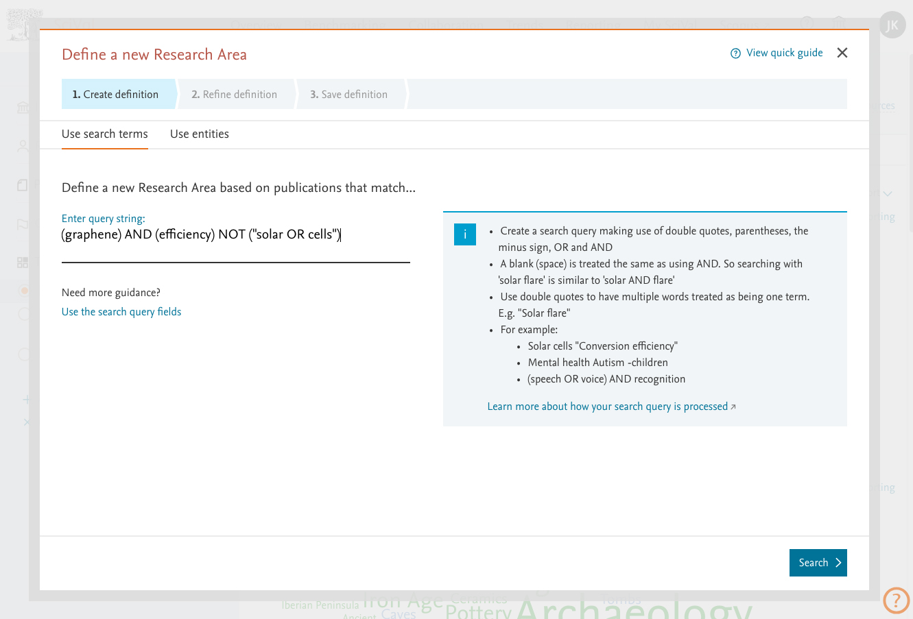 It's now easier to define a new Research Area. For more advanced users you can now use more complex search strings