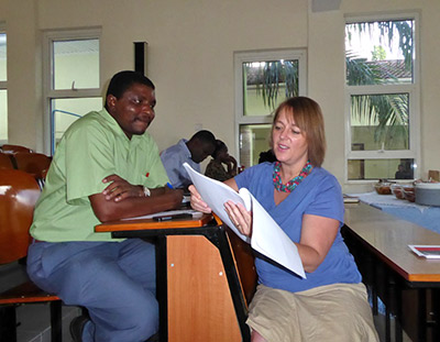 Charon Duermeijer at Mzumbe University (Dar es Salaam campus) looking at a nearly finished journal manuscript.