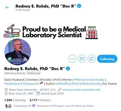 Prof Rodney E Rohde's Twitter profile