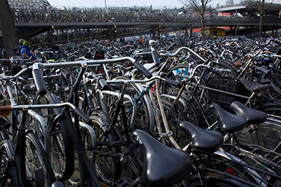 There's plenty of parking available for bicycles in Amsterdam, as this parking facility at the central train station demonstrates. (Photo by Alison Bert)