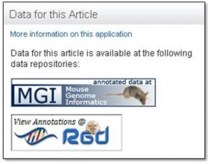 Figure 8. ScienceDirect banner pointing to two databases – MGI and RGD.