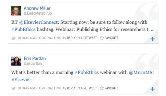 Examples of live tweets posted during the latest ethics webinar.