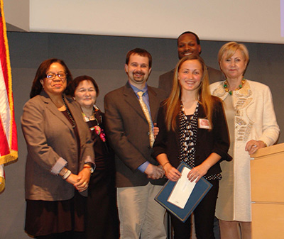2014 winner Sarah Tress (in front) at the 2014 program. Dr. Hedvig Hricak is to her right and Dr. Karen Hubbard is on the far left.