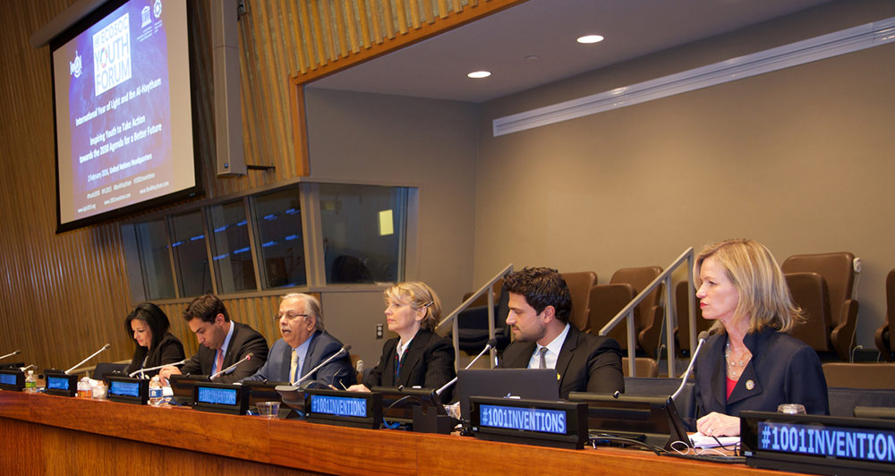 The speakers (left to right): Nihal Saad, Chief of Cabinet and Spokesperson for the High Representative of the UN Alliance of Civilizations; Almad Alhendawi, UN Secretary-General's Envoy on Youth; H.E. Ambassador Abdallah Y. Al-Mouallimi, Permanent Representative of Saudi Arabia to the UN; Marie-Paule Roudil, Director of UNESCO Office in New York; Ahmed Salim, Managing Director, 1001 Inventions; and Elizabeth A. Rogan, CEO of The Optical Society OSA.
