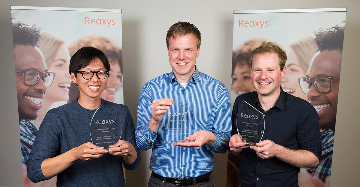 The winners of the 2016 Reaxys PhD Prize: Jiheong Kang, PhD, of the University of Tokyo; Pascal Ellerbrock, PhD, of Ludwig-Maximilian University of Munich; and Jamie Hicks, PhD, of Monash University in Australia. (Photo by Ashley Bingham, A&M Photography, London)