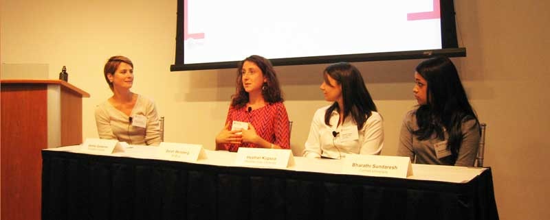 Dr. Jeanne Garbarino (left) leads a Q&A session with three scientists working on crowdfunding projects: Sarah Weisberg, Heather Kopsco and Bharathi Sundaresh. (Photo by Marilynn Larkin)
