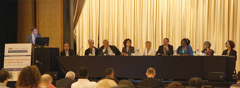 A panel of distinguished researchers, clinicians, policy makers, and advocates concluded the meeting by addressing the meeting's core question of what it will take to eliminate AIDS. (Photo by David Bowers)
