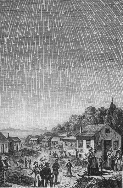 Woodcut of the meteor shower on November 13, 1833. This illustration appeared in the <em>Boston Evening Transcript </em>on November 16, 1833. It shows meteors radiating from a point in the sky, something never before observed. (Photo from the collection of Mark Littman and published with his 2016 article in <em>Endeavour</em>.)