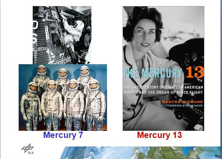 "Dr. Wörner showed a picture of the United States' Mercury 7 group, hailed in the media at the time as ""the seven brave men ready to fly to the moon,"" side by side with a picture of the Mercury 13 — women who trained the same way as the men but were never given an option to fly."