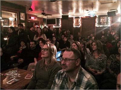 "More than 70 people gathered in Schubas Tavern in Chicago to hear Dr. Bailey's talk ""The Science of Sex and Attraction."" (Photo by Stephanie Levi)"