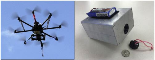 The CineStar8 in flight with thermal camera aimed downward (left) and a closeup of the FLIR Tau II camera core inside our custom-built case. (Source: J. Casana et al, Journal of Archaeological Science, May 2014)