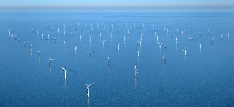 Aerial view of Sheringham Shoal wind farm. (Photo by Mike Page)