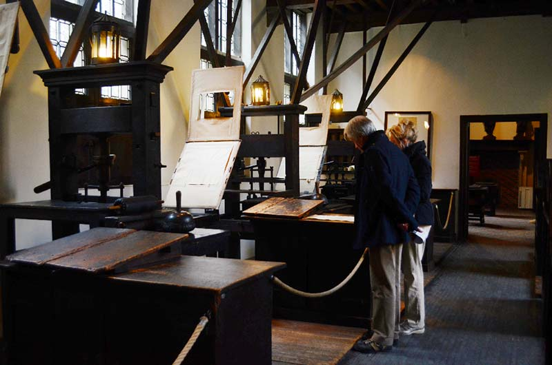 The print room of the Plantin-Moretus Museum has eight fully preserved print presses. (Photo by Elisa Nelissen)