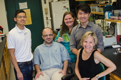 "Rice biologists (from left) John Liu, Wassim Chehab, Danielle Goodspeed, Zhengji ""Jim"" Sheng and Janet Braam showed there may be potential health benefits to storing fresh produce under day-night cycles of light. (Photo by Jeff Fitlow/Rice University)"