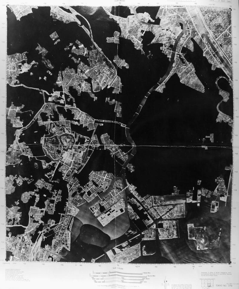 Figure 12. Tokyo No. 7 Mosaic Map showing damage to center of the city after multiple fire bombings up to early July 1945. (Source: U.S. National Archives, Record Group 243, Series 59, Box 6)