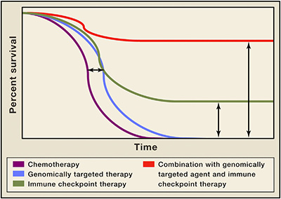 <strong>Figure 2. Improved Overall Survival as a Result of Combination Therapy. </strong>Depiction of Kaplan-Meier survival curve with genomically targeted agents (blue line) as compared to standard therapies (purple line), indicating an improvement in median overall survival but lack of durable responses; improved median overall survival and durable responses in a fraction of patients treated with immune checkpoint therapy (green line); possibility for improved median overall survival with durable responses for the majority of patients in the setting of combination treatment with genomically targeted agents and immune checkpoint therapy (red line). (Source: Sharma, Allison: Cell, April 2015)