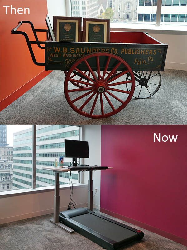 Delivering content sure has changed; this treadmill desk allows employees to work out while they work.
