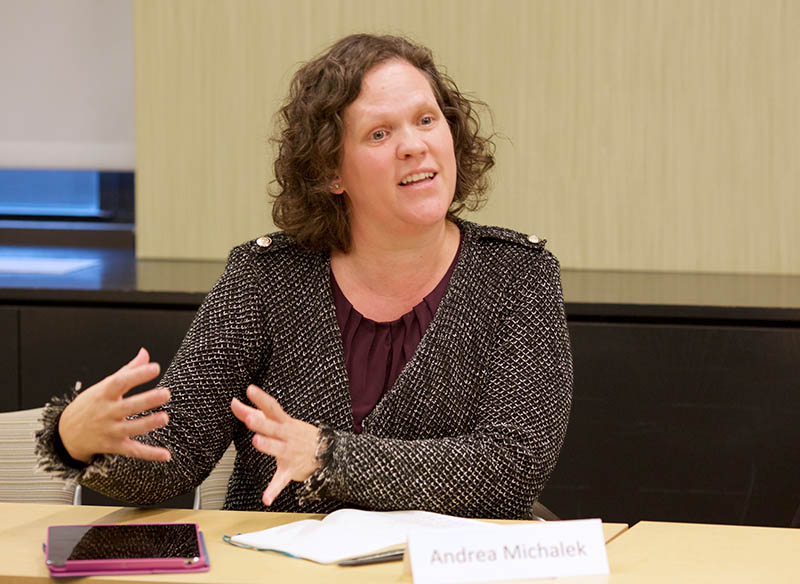 Andrea Michalek, co-founder and Managing Director of Plum Analytics, speaks at a roundtable at the Harvard Data Science Initiative in November. (Photo by Alison Bert)