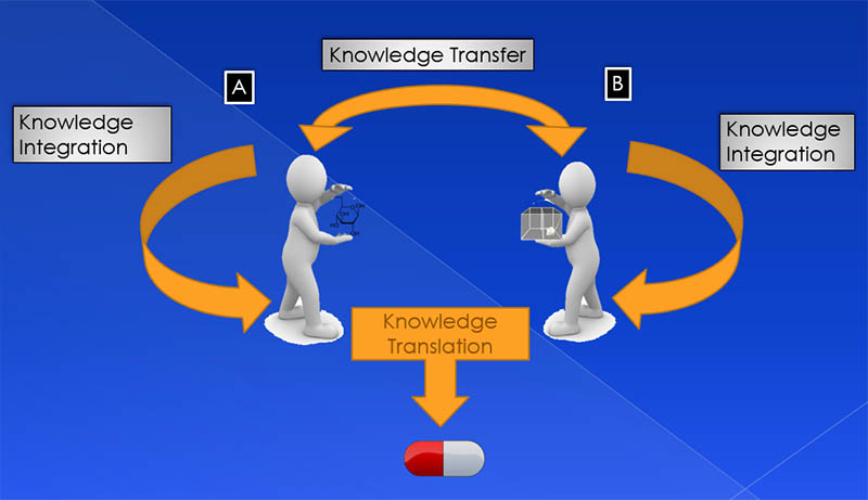 "<strong>Figure 2.</strong> An exchange of ""assets,"" such as materials, animal models, knowledge, personal connections and resources, forms the basis of collaboration through which knowledge is transferred, integrated and finally translated into commercial products.  (Source: <em>The Core Model</em>, Elsevier, 2019)"
