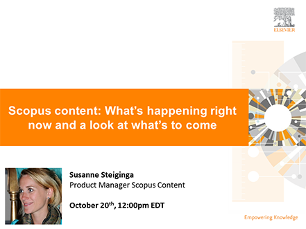 Scopus content: What's happening right now and a look at what's to come